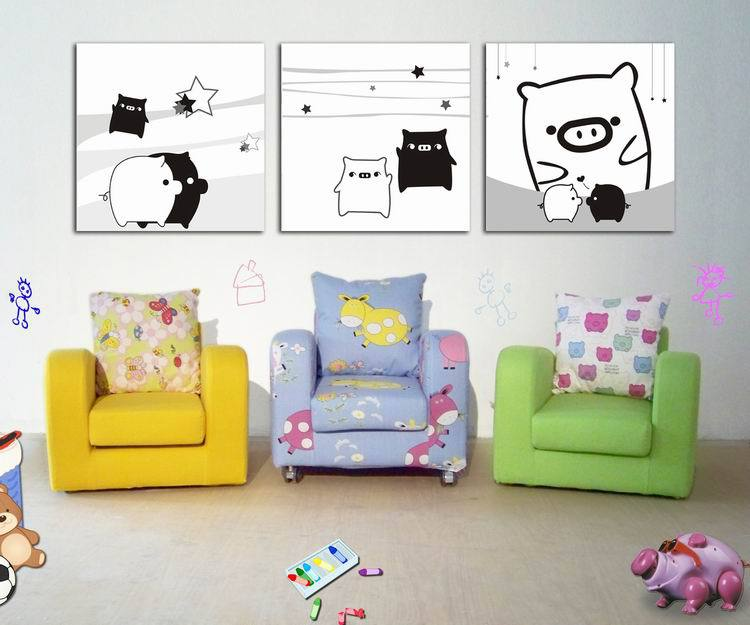 3pcs Art Painting Modern Wall Painting Cute black and white pig Home Decorative Art Picture Paint on Canvas Prints Free Shipping(China (Mainland))