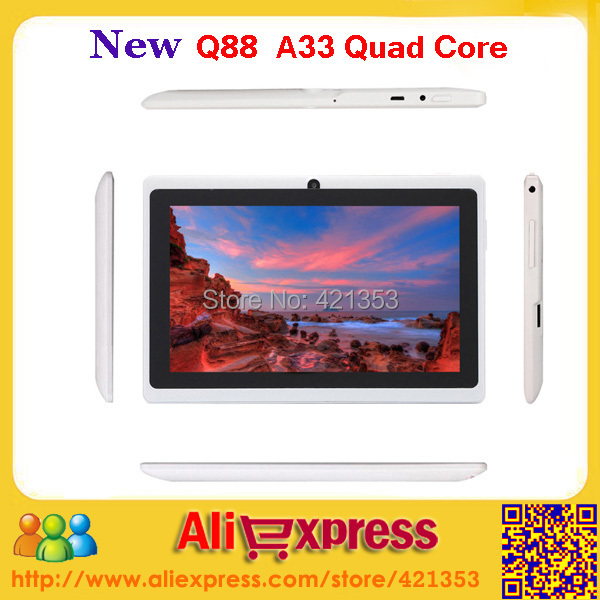 10pcs/lot Factory Wholesale 7 inch Android 4.4 Q88 Allwinner A33 Quad Core Tablet PC Dual Camera Bluetooth WiFi With Gifts(China (Mainland))