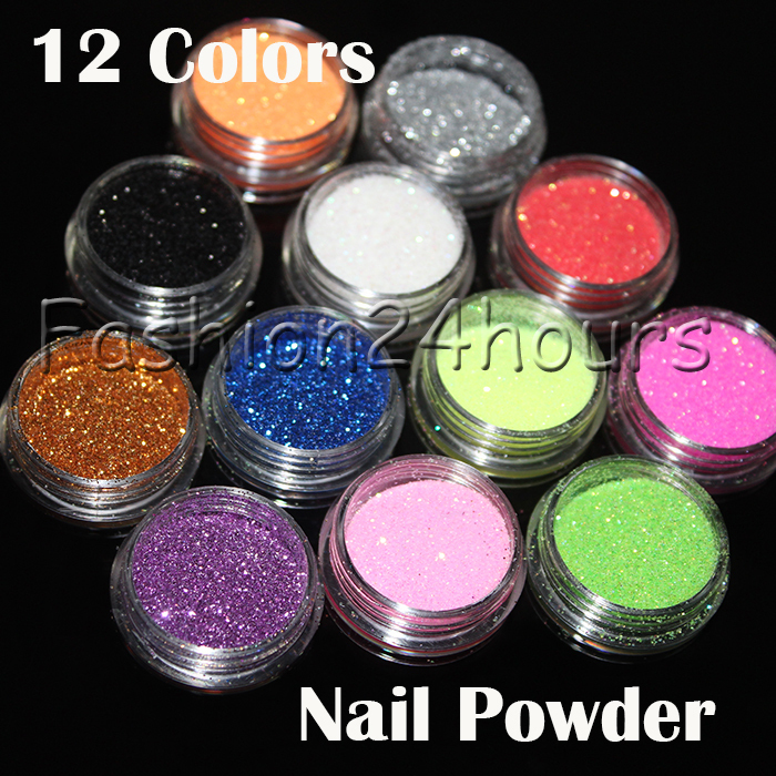 12 Different Colors Nail Art Glitter Powder Dust Decoration With Box Free Shipping(China (Mainland))