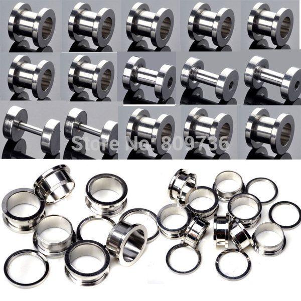 2pcs Stainless Steel Screw Ear Plug Tunnel Stretcher Flesh Gauge Ear Expander Punk Men Women Earrings Jewelry Free(China (Mainland))