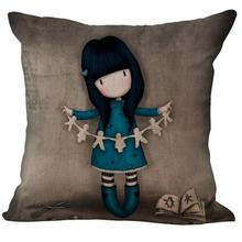 Lonely Long-haired Girl Doll Cotton Linen Throw Pillow Case