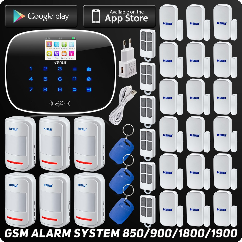 GSM ISO Android App Control Wireless Home Security Alarm System Quard Band SMS RFID Autodial SMS Detector Kit with Motion Sensor(China (Mainland))