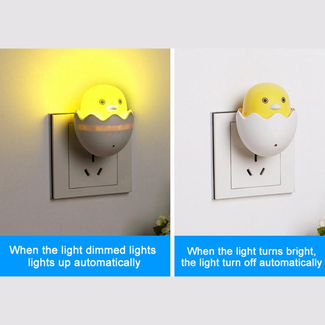 Room Novelty Lovely New EU Plug Cute Small Yellow Duck Wall Socket Light-control Sensor LED Night Light Bedroom Lamp(China (Mainland))