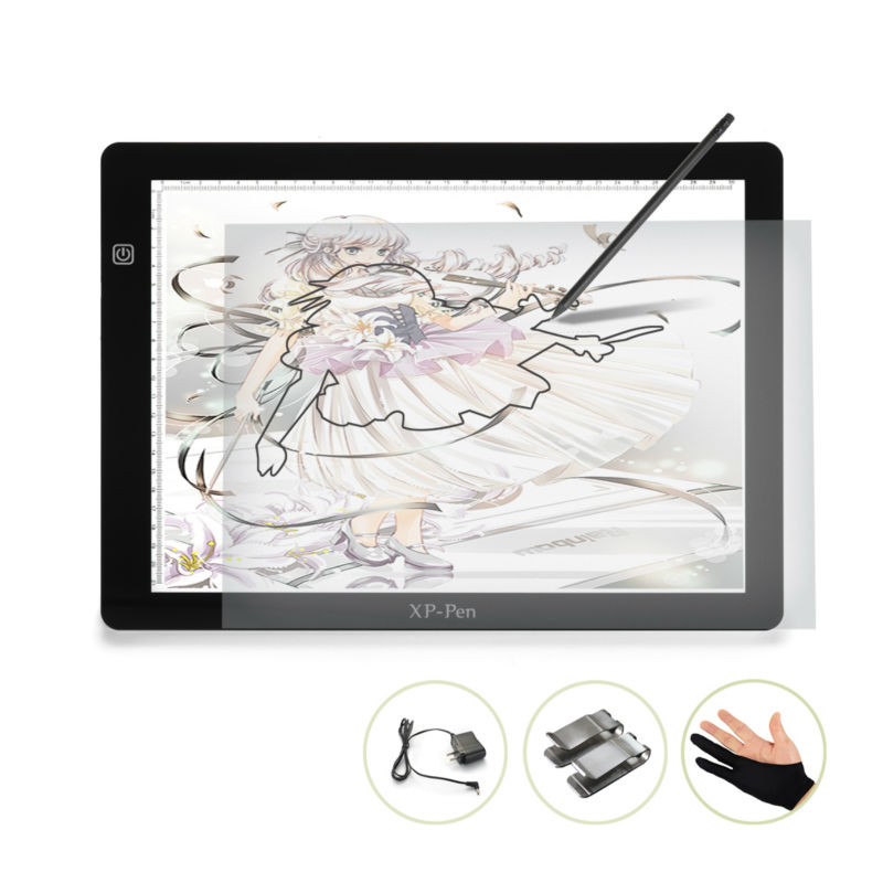 "XP-Pen 18"" Super Deal LED Art craft Tracing Light Pad Light Box Drawing Pad Copy Board with Paper Clips and Anti-fouling Glove(China (Mainland))"