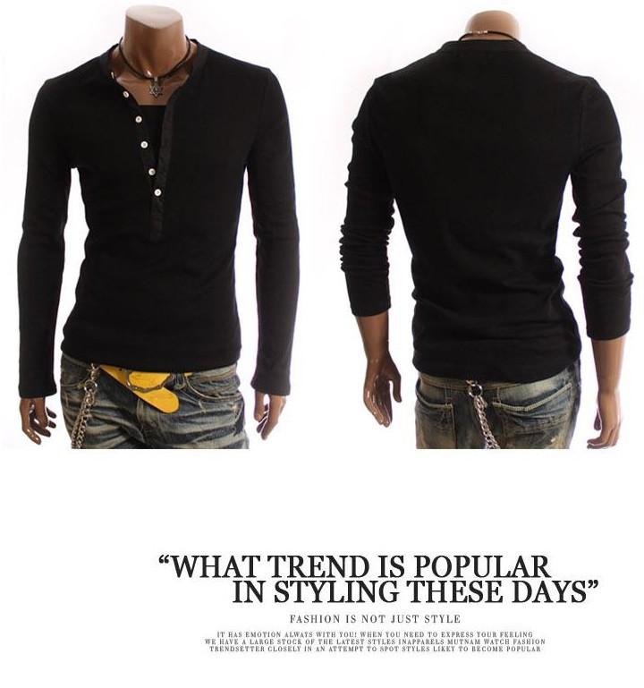 2013 new british style men fashion layered long-sleeved T-shirt 100% cotton Slim Men's slim henley shirt - Guangzhou Kingda International Co.,Ltd store