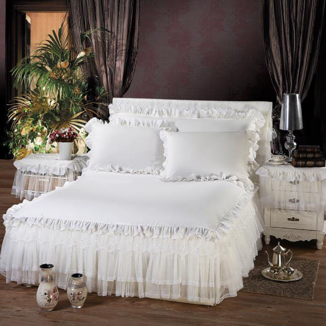 100% Cotton Lace Bed Skirt Not Include Pillowcase Five Sizes Six Colors Available White/Pink/Beige/Light Orange/Blue/Purple(China (Mainland))