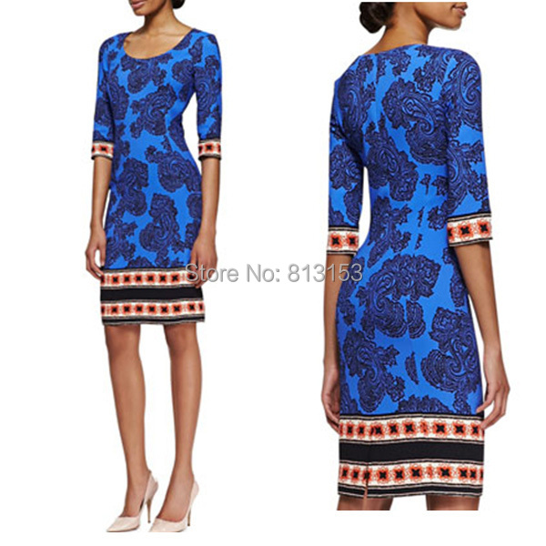 New Women Silk Floral Dress Printed O-neck Casual Lady Dresses Size S to XXL(China (Mainland))