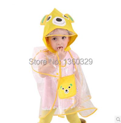 Korean Style font b burberry b font kids Raincoat Yellow Rainwear Children Cartoon Transparent Eco friendly