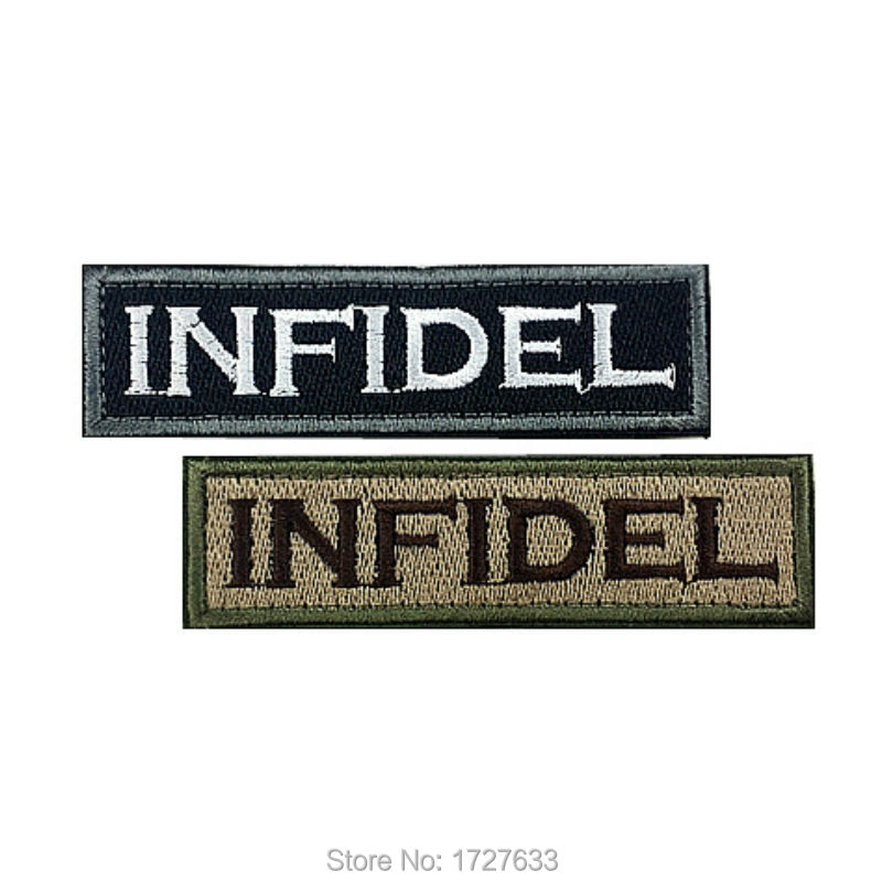 95*26mm Punisher INFIDEL Embroidered Patches Badge Military Tactical Clothing Backpack Baseball Caps Badges Armband(China (Mainland))