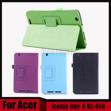 3 in 1 Ultra Slim Litchi Stand Folio PU Leather Tablet Cover Case For Acer Iconia One 8 B1-810 B1 810 + Stylus + Screen Film