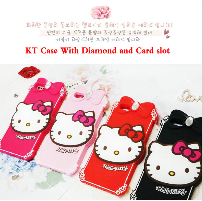 2015 Newest 3D Cute Lovly Silicone Hello Kitty Case Cover With Diamond For iphone 6 6G 6+ plus iphone6(China (Mainland))
