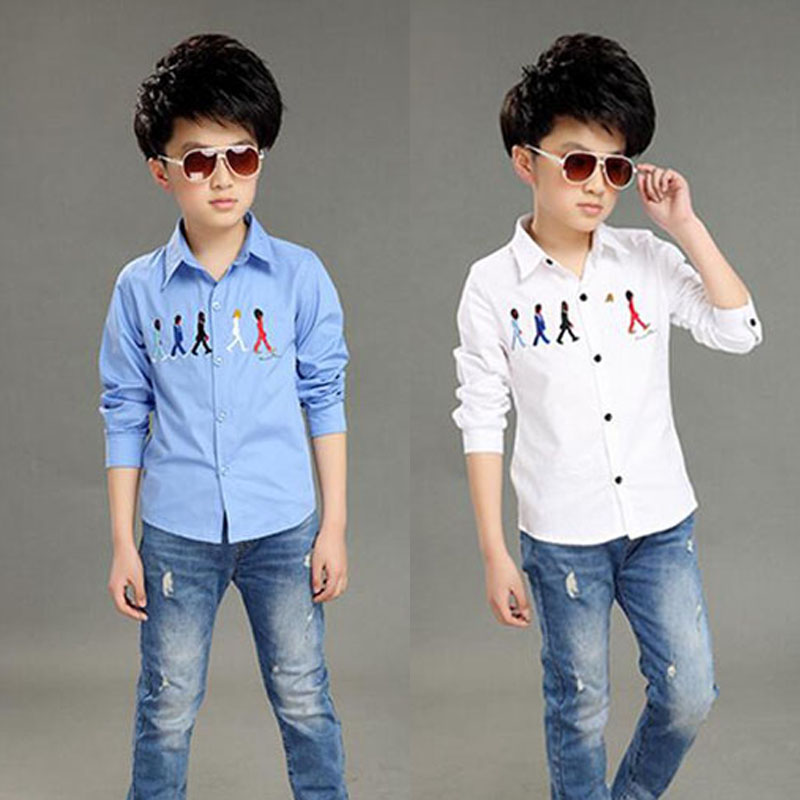 2016 Brand New Kids Dress Shirts for Boys Fashion Cotton Patchwork Boys Long Sleeve Formal Dress Shirts Boys Tops(China (Mainland))