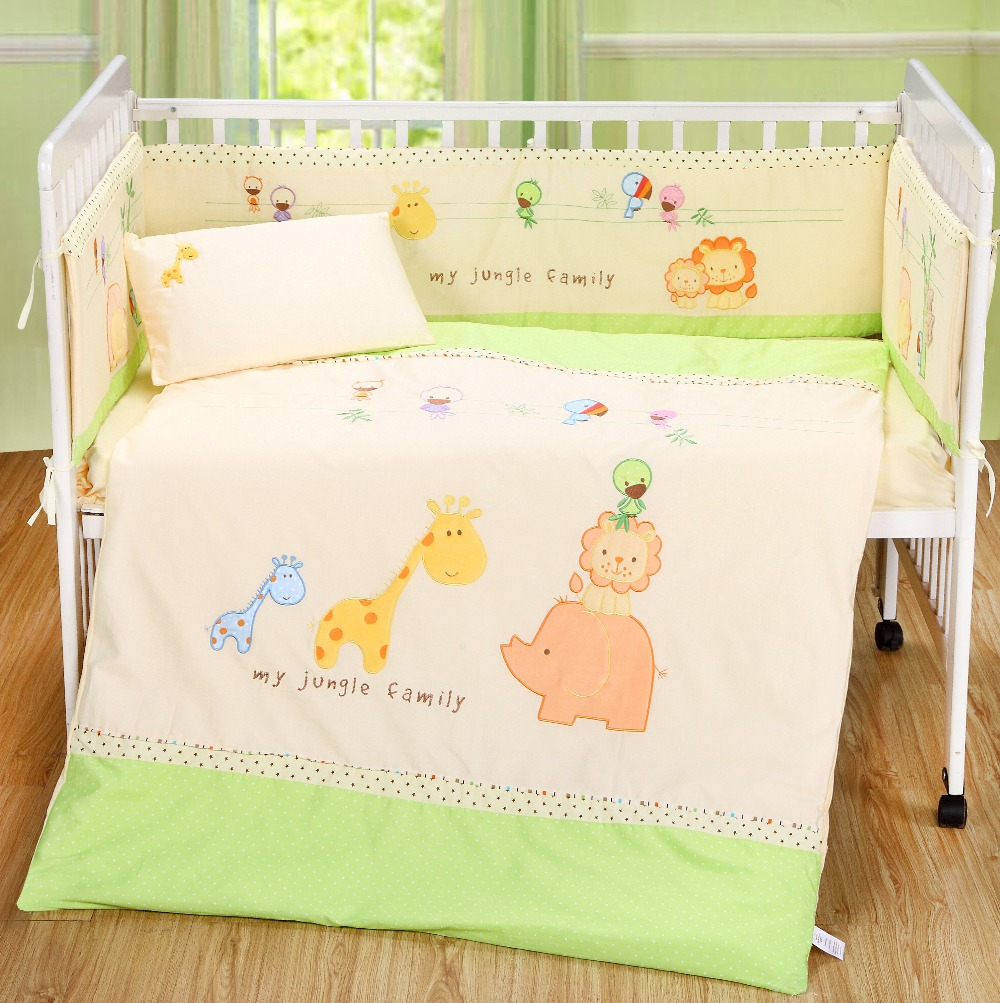 hot sell of baby Animals Boy and girl Baby Cot Cribs Bedding sets 7pcs ,comforter+bumper+sheet+pillow(China (Mainland))