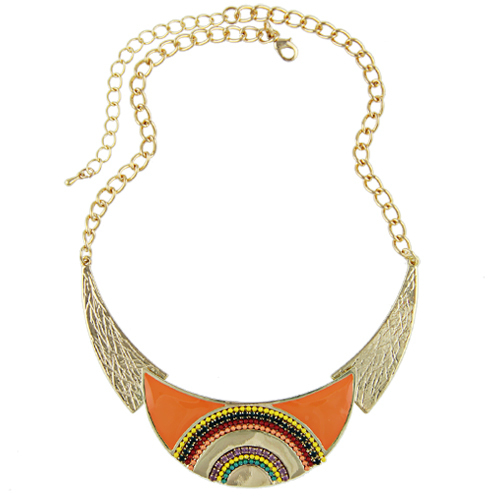 Collares 2015 New Fashion Women Ethnic Enamel Beads Moon Shaped Choker Statement Pendant Necklace Gold Filled