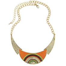 Free Shipping  2013 New Arrival Women Fashion Ethnic Enamel Beads Moon-shaped Choker Statement Link Chain Necklace Jewelry