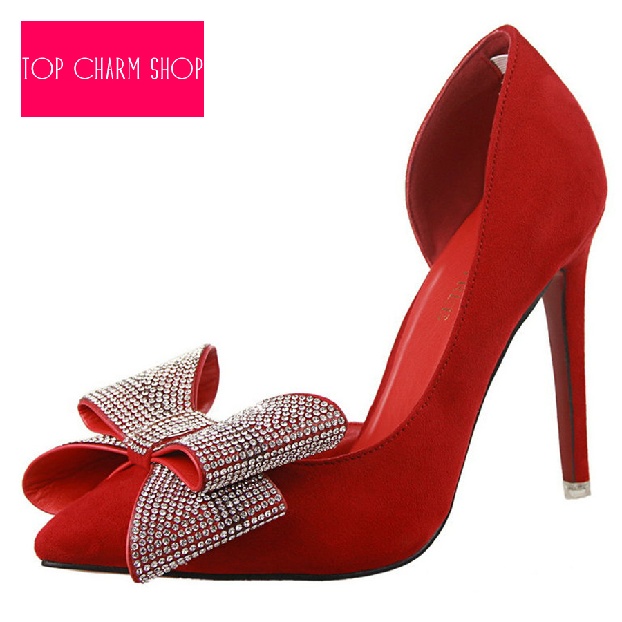 New Hot Sale Women's Shoes High Heels Red Bottom Sole Shoes Pumps Pointed Toe High Heels Diamond Bow Sexy Women Ladies Pumps