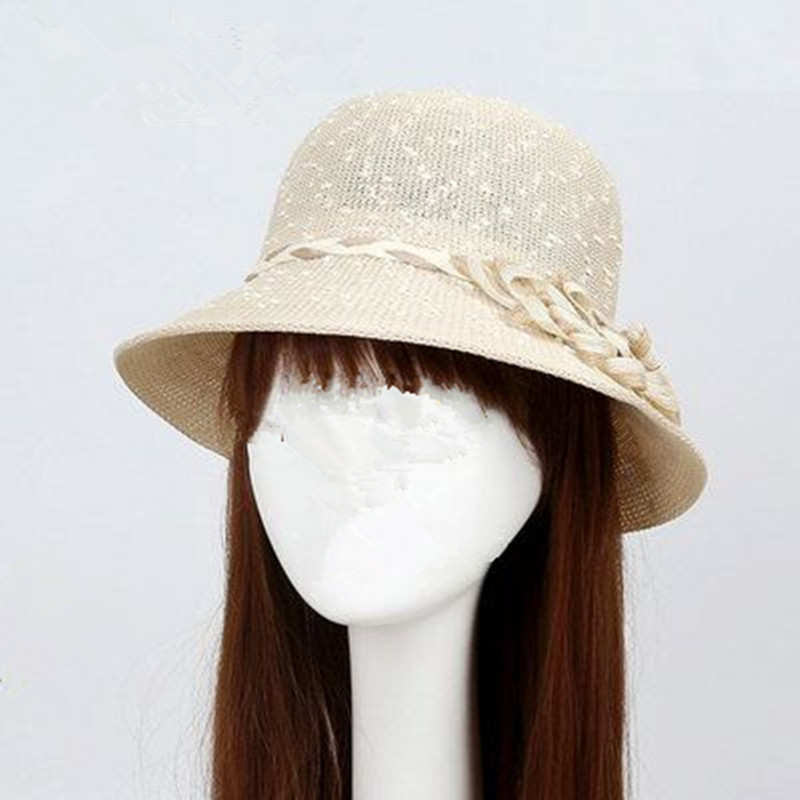 Summer Spring And hollow sweater knit hats for women summer hat hemp sun hat bucket hats dome shade Panama(China (Mainland))