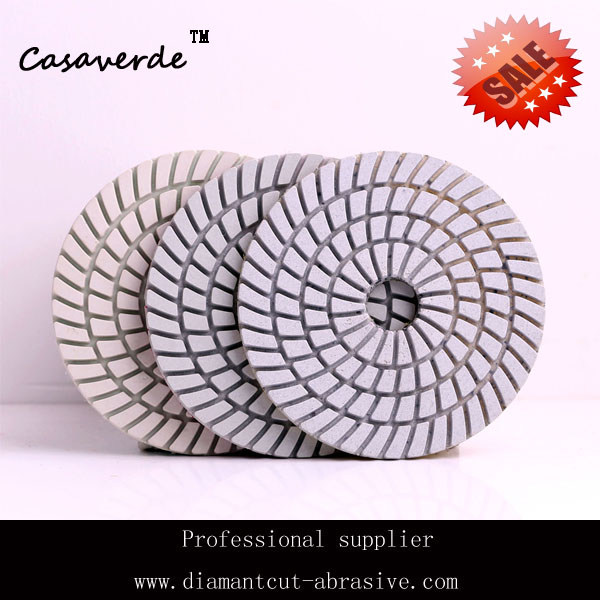 4(100mm) white diamond flexible wet  3 step polishing pads,for stone and marble<br><br>Aliexpress