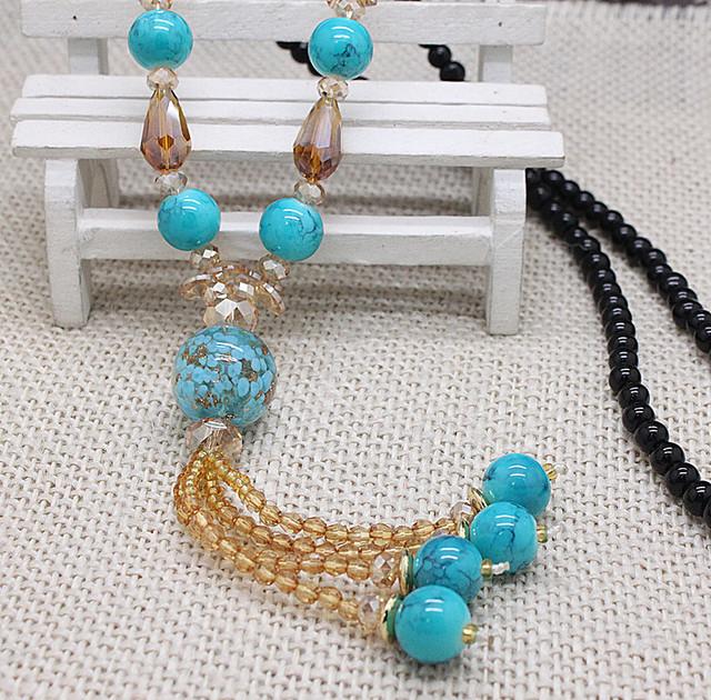 Дизайнер ручной популярные 2016 кристалл бусины кистями длинные ожерелья для женщин ...