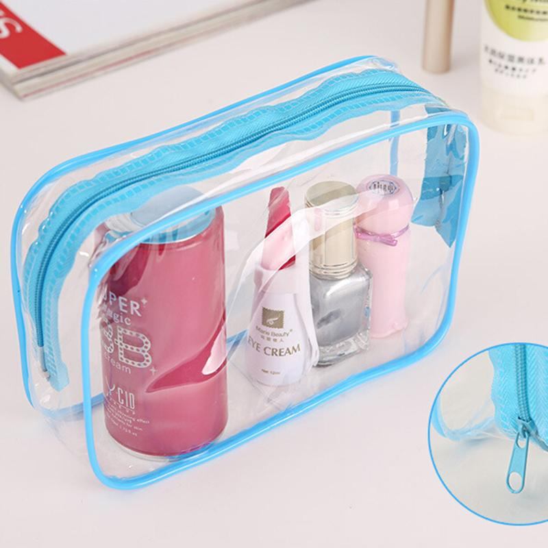1PC New Clear Transparent Plastic PVC Bags Travel Makeup Cosmetic Bag Toiletry Zip Pouch 3 Colors(China (Mainland))