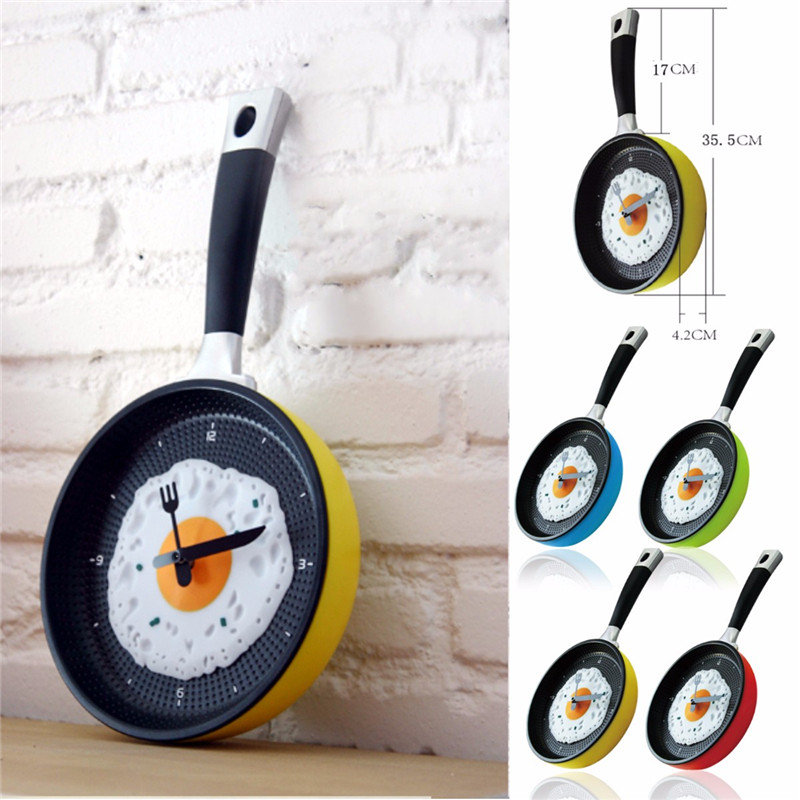 Plastic Fried Egg Frying Pan Kitchen Novelty Wall Clock Gift Cafe Clock Fork Knife Hands Wall Clocks Durable(China (Mainland))