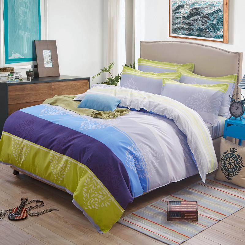 2016 NEW ARRIVAL! purple yellow striped bed sheet set Eurpoean style comforter sets home adults quilt cover set(China (Mainland))