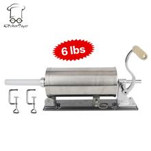 2,7кг (6 фунтов) Горизонтальный шприц из нержавеющей стали для набивки колбас