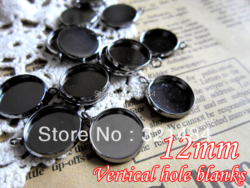 wholesale gunmetal black round charm pendant tray, cameo base setting fit 12mm glass cabochon w/ Vertical Loop bezel blank
