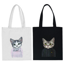funny cat canvas bags women handbag shoulder bag portable eco-friendly handbags children school bags(China (Mainland))