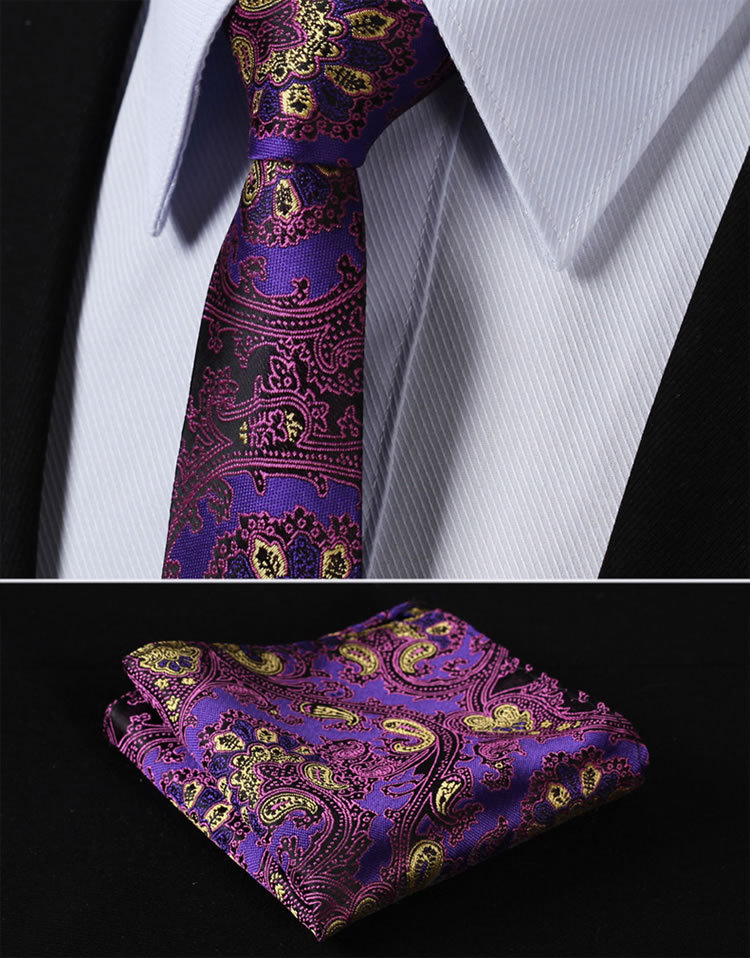 TF2006P5 Purple Yellow Paisley 2.17 inch 100%Silk Woven Slim Skinny Men Tie Necktie Handkerchief Pocket Square Suit Set - HISDERN store