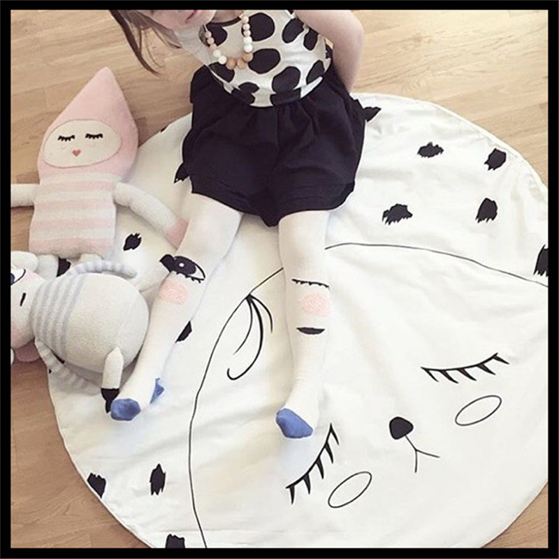 New Baby Crawling Receiving Blanket Kids Room Floor Carpet Round Hand Printed Cute Face Moon Chilren Play Mat Rug 100%Cotton(China (Mainland))