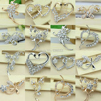 9 Styles Factory Direct Sales New Arrival Gold Plated/Silver Plated Rhinestone Crystal Jewelry Brooch For Women