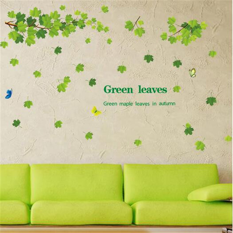 T260 Green leaves decorative wall stickers l cozy living room bedroom wall stickers decorative interior decoration Art(China (Mainland))