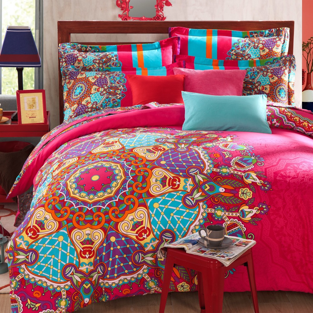 4pcs bohemian bedding boho bedding full queen size duvet cover set in bedding sets from home. Black Bedroom Furniture Sets. Home Design Ideas