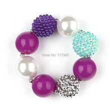 New 3Pcs Jelly Purple Kids Chunky Bracelet Bubble Gumball Beaded Little Girls Bracelet(China (Mainland))