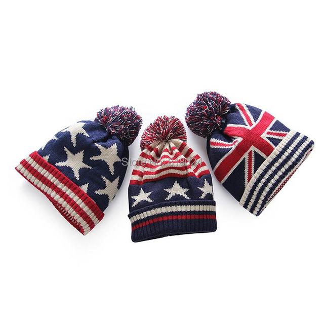 Дешевые сша американский флаг шапочка шляпу шерсти зима теплая вязаные шапки и шляпы для мужчин и женщин Skullies круто шапочки оптовая продажа