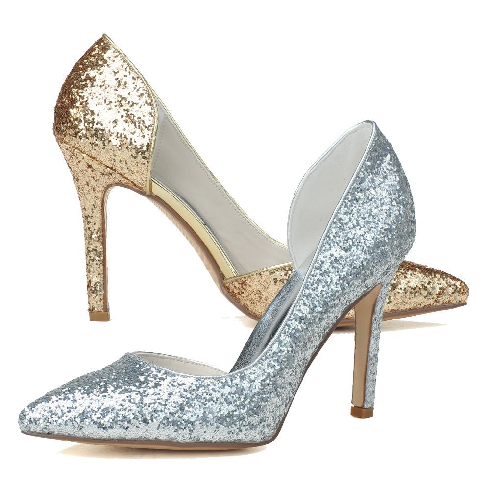 Low Heel Silver Glitter Shoes