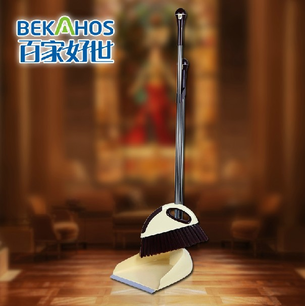 High Quality Stainless Steel Dust Pan & Broom Set Flip Lock Good Grips Upright Sweep Set(China (Mainland))