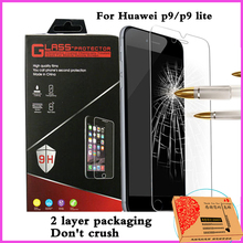 screen protector front film Tempered Glass For huawei p9 / p9 Lite Tempered glass front screen protector protective Film clear(China (Mainland))