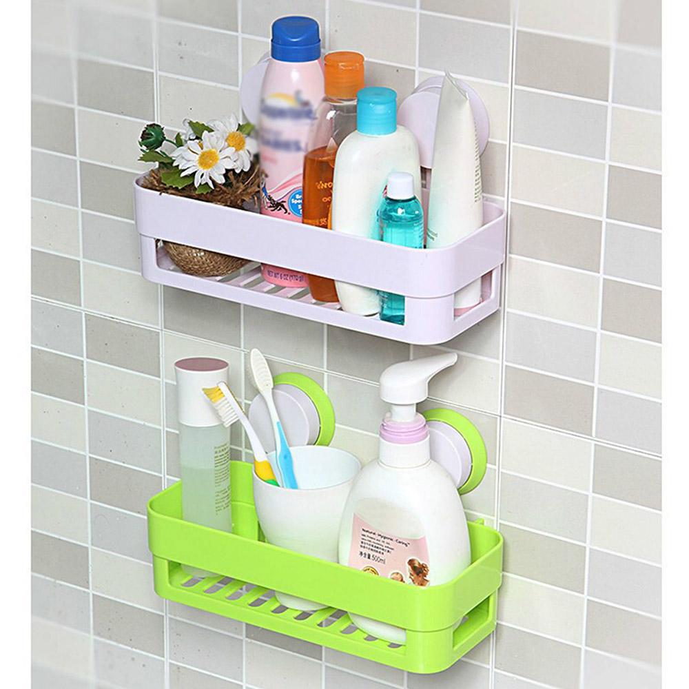 Home Kitchen Storage Holder Plastic Bathroom Storage Shelf Kitchenware Toiletry Dish Rack with Sucker(China (Mainland))