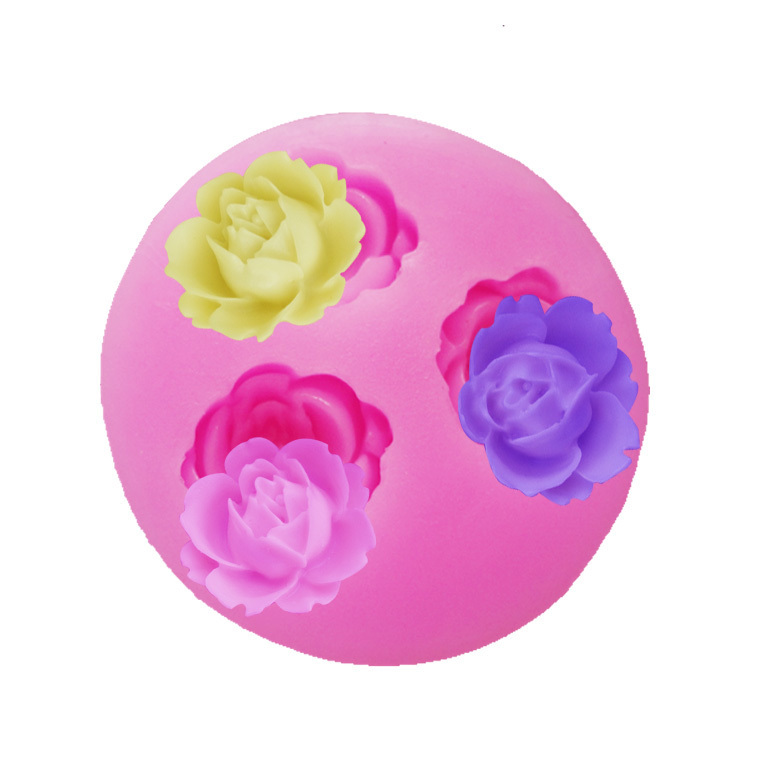 M005 3 rose flower Arylic Resin Flower silicone mold,fondant molds,sugar craft tools,chocolate mould,soap candle molds for cake(China (Mainland))