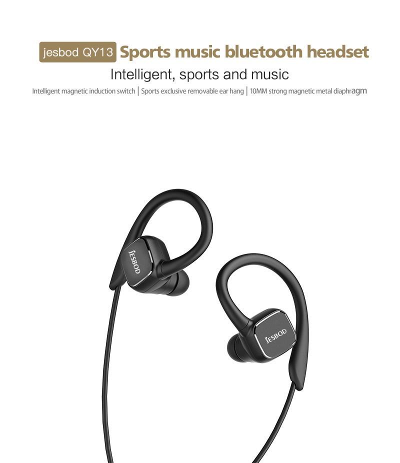 Jesbod H1 QY13 Magnetic headphones Earphone Wireless Sport Bluetooth Stereo Headset Sweatproof Mic for calls earbuds AptX APP