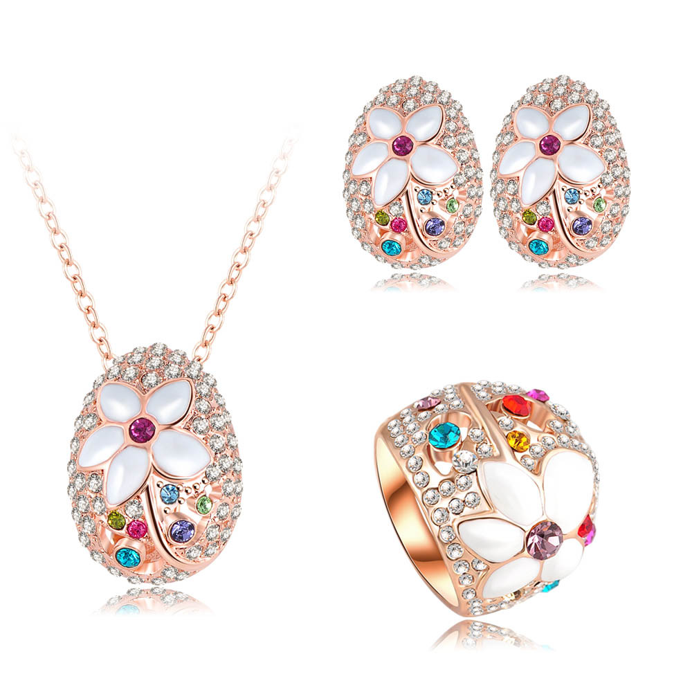 LZESHINE Brand Romantic Jewelry Sets 18K Rose Gold Plate Necklace&Pendant/Earring/Ring Enamel Flower Jewelry Set Aretes ST0137-A(China (Mainland))