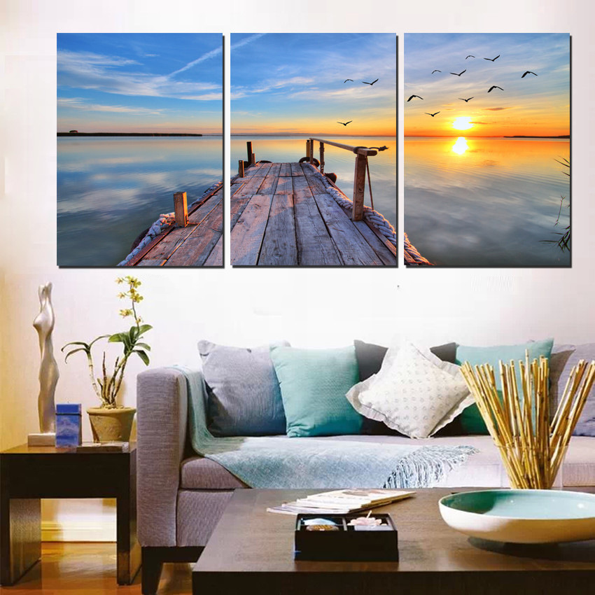 Modern Wall Pictures Morning Sunrise Seascape Oil Painting