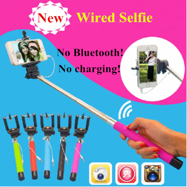 Wired Selfie Stick Monopod Extendable Camera Portrait For iPhone 6 Plus For Samsung S6 edge Android IOS Mobile Phone Palo Selfie(China (Mainland))