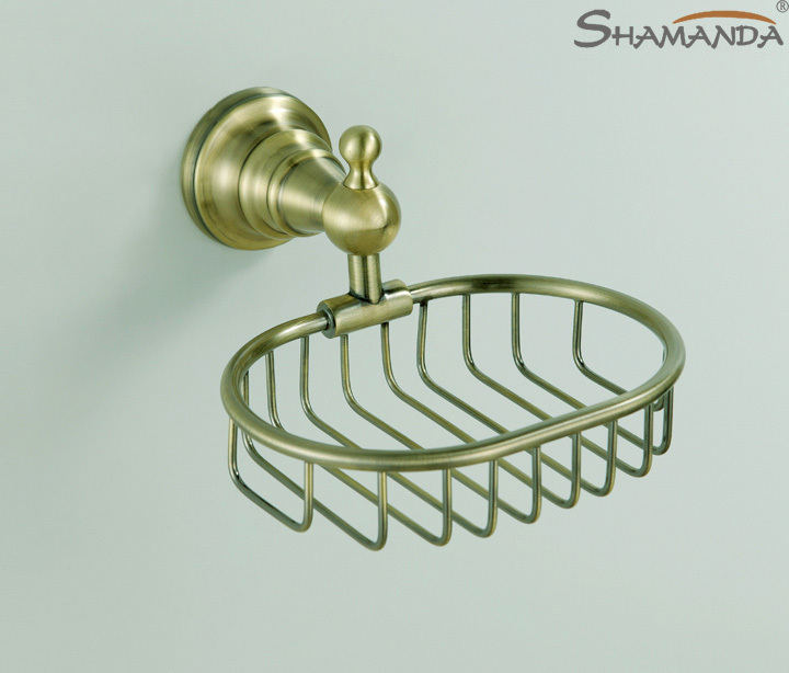 2016 Top Fashion Free Shipping Bathroom Accessories Products Antique Finished Soap Basket Soap Dish Holder Soap Box-95015BN(China (Mainland))