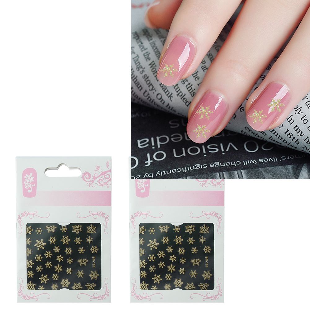 2 Set 3D Snowflake Design Nail Art Stickers Decals Gold Tone Fingernail DIY Decoration Accessories Manicure Decor Christmas Gift(China (Mainland))
