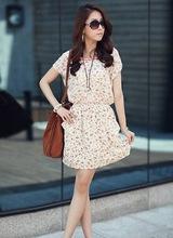 Free shipping New fashion women cute summer dresses short sleeve o-neck dress elastic waist Plus size M,L,XL,XXL dark blue,beige