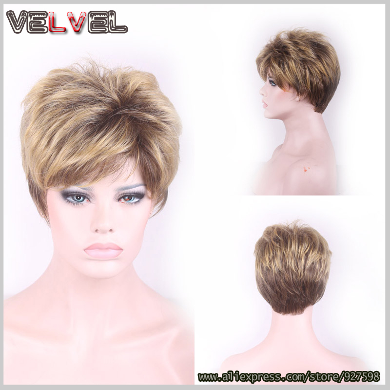 Fashion Brown Blonde Mixed Two Tone Ombre Short Wig Skin Top Wigs Sexy Ladies Short Straight Natural Hair Wigs+Free cap<br><br>Aliexpress