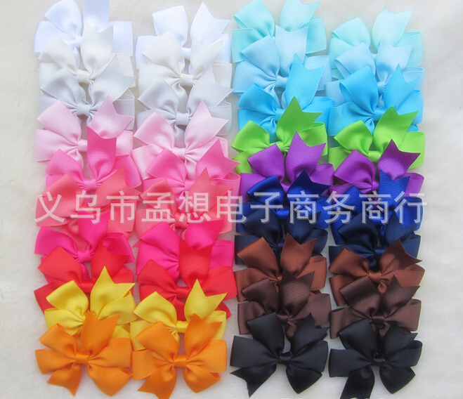 40pcs/lot NEW Grosgrain Ribbon Pinwheel Bows WITHOUT Clip,Baby Girls' Hair Accessories Headwear Boutique Hair Bows xth068(China (Mainland))